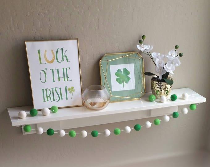 St. Patrick's Day Pom Pom Garland : Shamrock Garland // Clover Garland