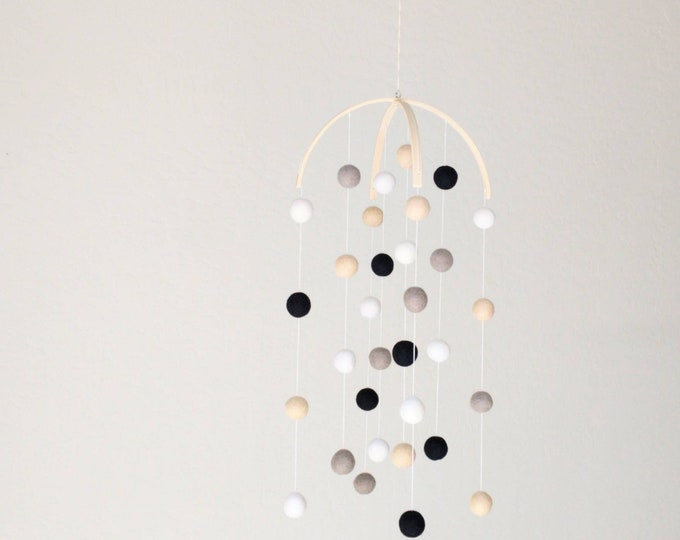 Black and White Baby Mobile : Woodland Baby Pom Pom Mobile in Neutral Palette