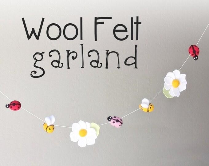 Ladybug Wool Felt Garland : Ladybug and Bee Garland