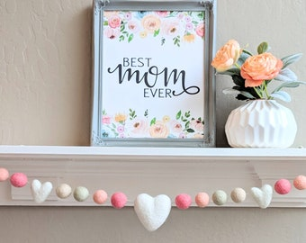Mother's Day Garland : Coral and Sage Mother's Day Decor