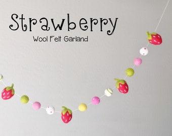 Wool Felt Garland : Wool Felt Strawberry garland