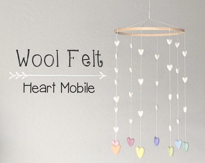 Wool Felt Baby Mobile : Pastel Rainbow Hearts Mobile