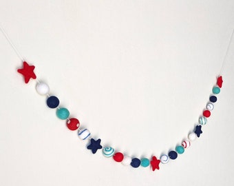 Patriotic Decor : July 4th Garland // Red White and Blue Garland - Patriotic Star Garland