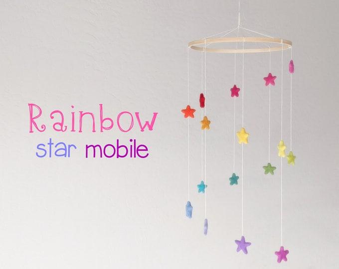 Wool Felt Baby Mobile : Rainbow Stars Mobile