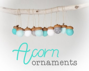 Acorn Christmas Ornaments : Felted Wool Acorn Ornaments
