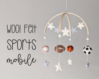 Sports Baby Mobile : Wool Felt Sports Mobile