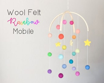Baby Mobile : Rainbow Baby Mobile - felt poms and stars