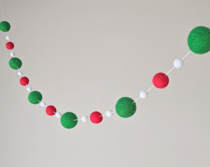 Pom Pom Christmas Garland : Red and Green Christmas Garland