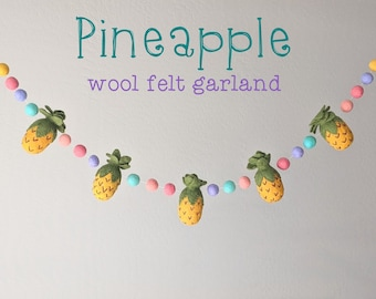 Pineapple Wool Felt Garland : Tropical Felt Garland