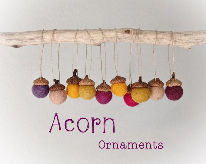 Acorn Ornaments : Felted Wool Acorn Ornaments