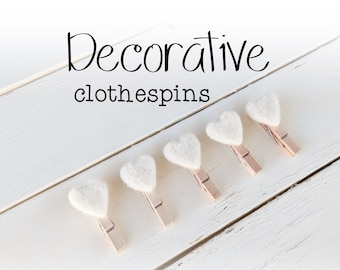 Decorative Clothespins - Heart Clothespins - Picture Display Pins