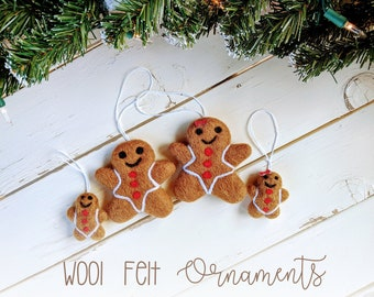 Gingerbread Christmas Ornaments: Wool Felt Gingerbread Ornaments
