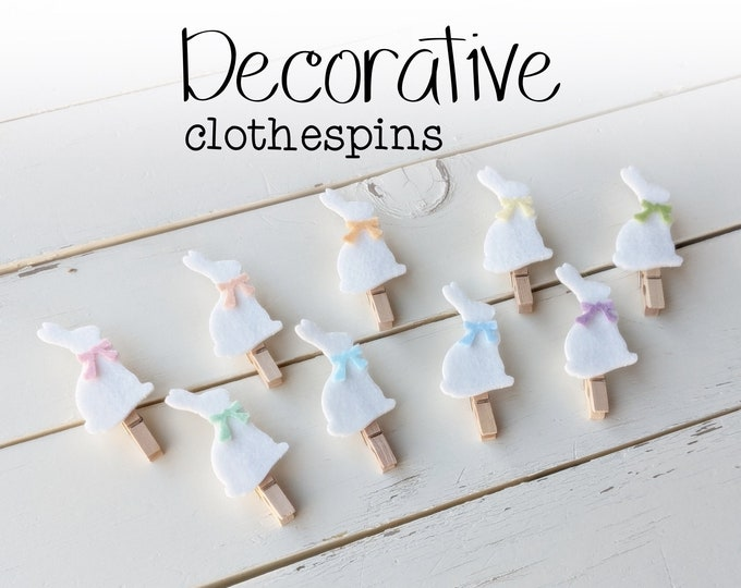 Decorative Clothespins - Bunny Clothespins - Picture Display Pins