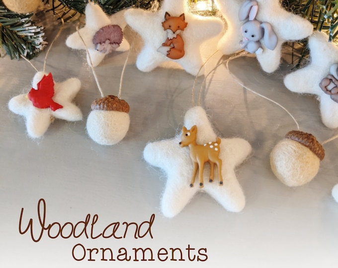 Whimsical Woodland Ornaments : Felted Wool Ornaments / Acorn ornaments