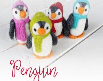 Christmas Penguin Ornaments: Wool Christmas Ornaments