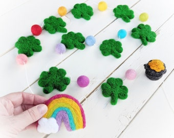 St. Patrick's Shamrock Garland : Felt ball garland for St. Patrick's Day