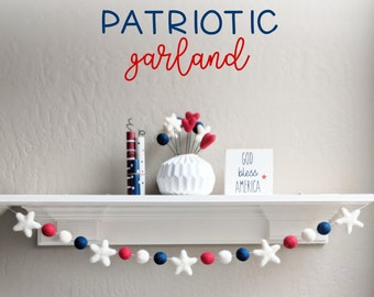 Patriotic Garland : Wool Felt star garland for Memorial Day