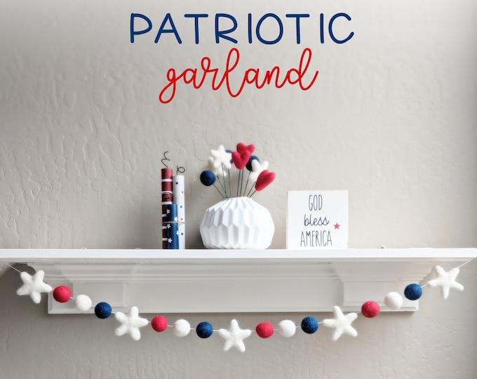 Patriotic Garland : Wool Felt star garland for Memorial Day