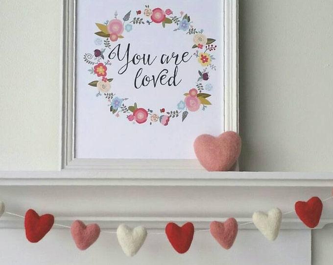 Valentines Heart Garland : Felt garland for Valentine's Day