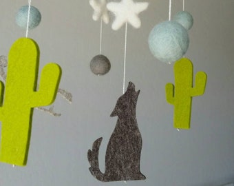 Baby Mobile : Moon and Stars Mobile with Cactus and Coyote