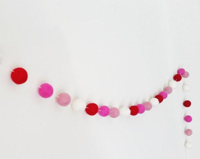 Valentines Garland : felt pom pom garland in hot pink