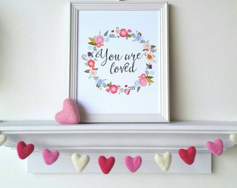 Valentines Heart Garland : Felt ball garland for Valentine's Day