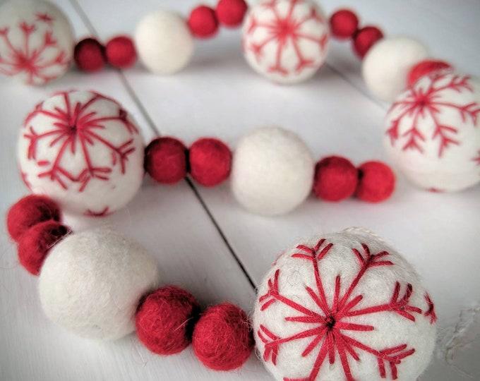 Christmas Garland : Snowflake Christmas Felt Ball Garland