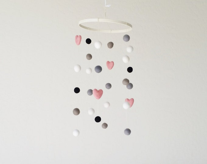 Baby Mobile : Paris Pink Delight in black, white and pink