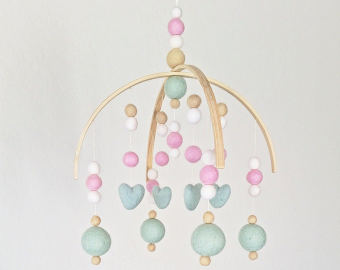 Baby Mobile : Sweetheart Baby Mobile in seafoam, pink and ivory