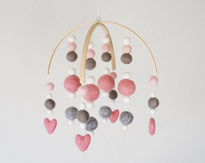 Baby Mobile : Sweetheart Baby Mobile in pink and gray