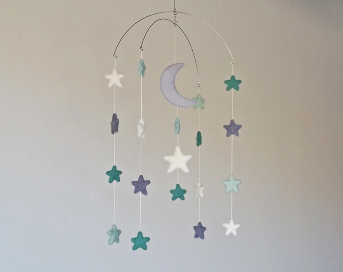 Baby Mobile : Moonbeam Baby Mobile - mobile with moon and stars