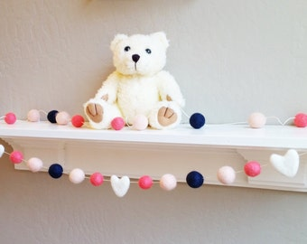 Nursery Garland : felt pom pom garland in coral and navy