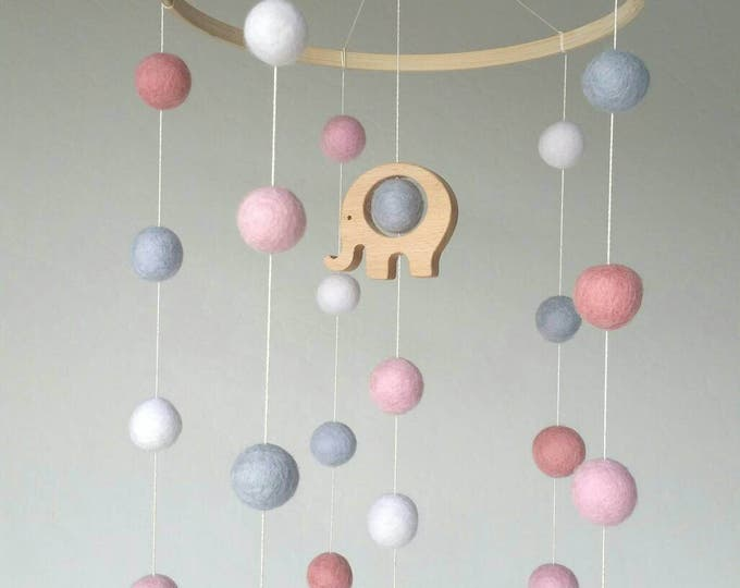Baby Mobile : Pink Elephant Baby Mobile with felt balls