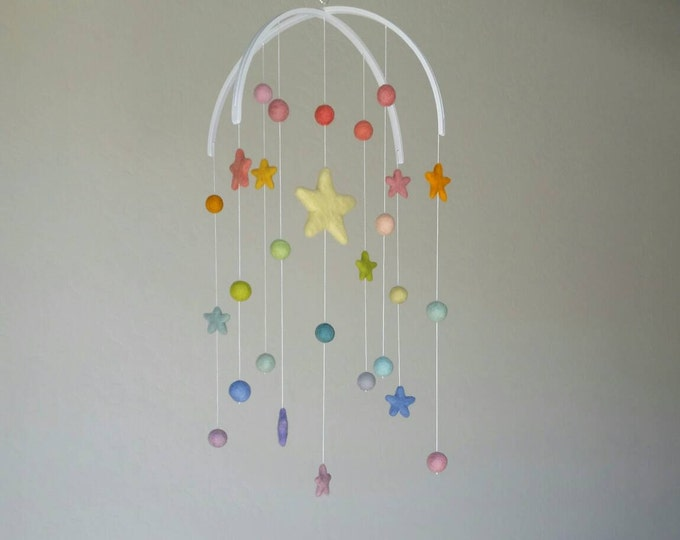 Baby Mobile : Deluxe Pastel Rainbow Baby Mobile - felt poms and stars