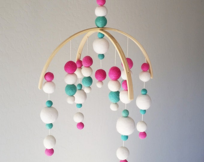 Baby Mobile : Milky Way in pink and aqua