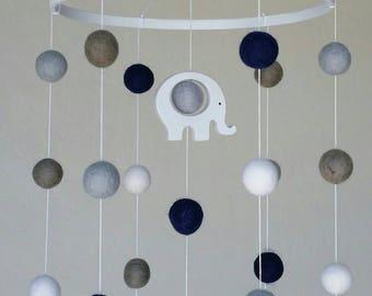 Baby Mobile : Elephant Baby Mobile with felt balls