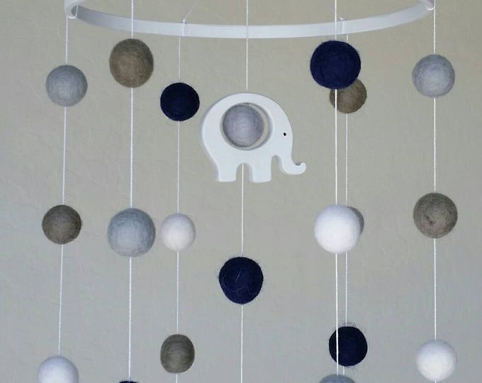 Baby Mobile : Elephant Baby Mobile with felt balls