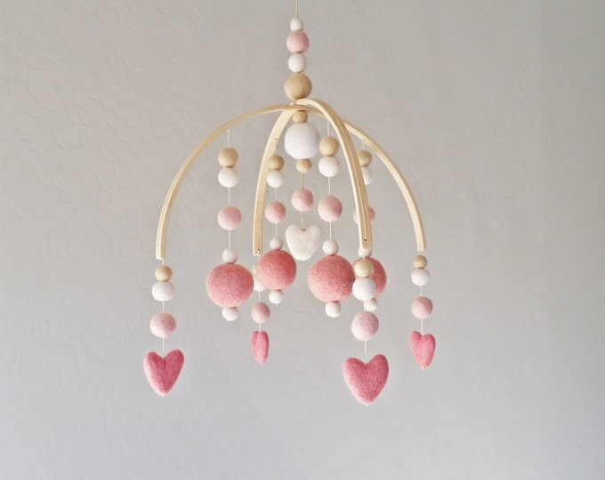 Baby Mobile : Sweetheart Baby Mobile in pink and ivory