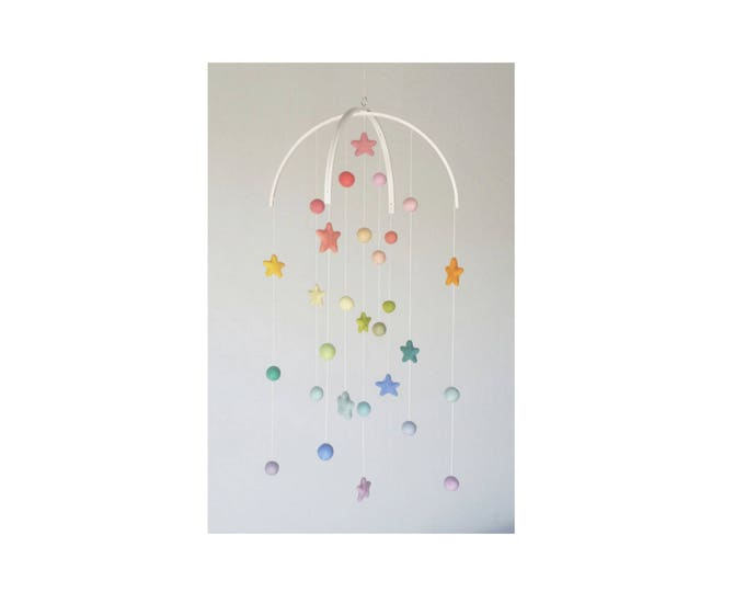 Baby Mobile : Pastel Rainbow Baby Mobile - felt poms and stars