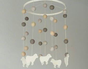 Baby Mobile : Dreams of Sheep in gender neutral tones