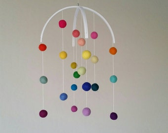 Baby Mobile : Rainbow Baby Mobile - felt poms only