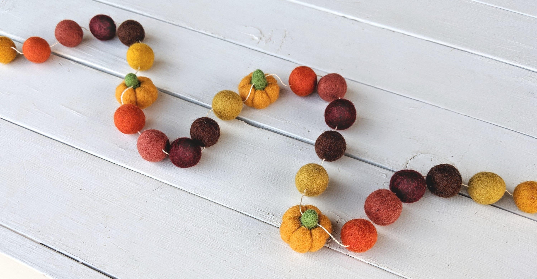 Fall Garland Thanksgiving Fall Felt Ball Garland With Pumpkins
