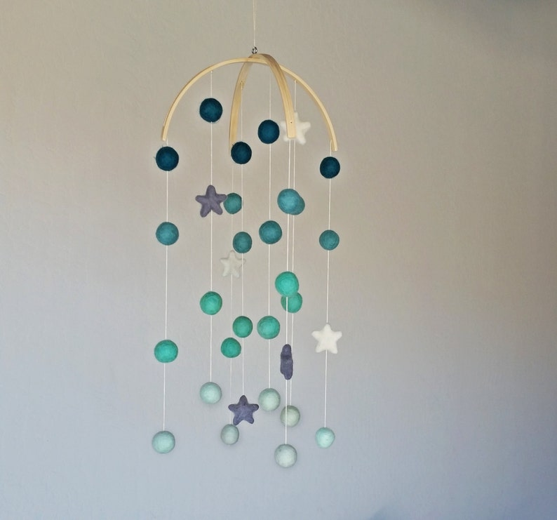 Baby Mobile : Night Sky Pom Pom mobile in Mint Ombre tones and image 0