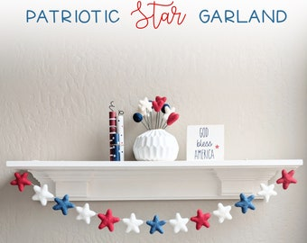 Patriotic Star Garland : Felt star garland for 4th of July
