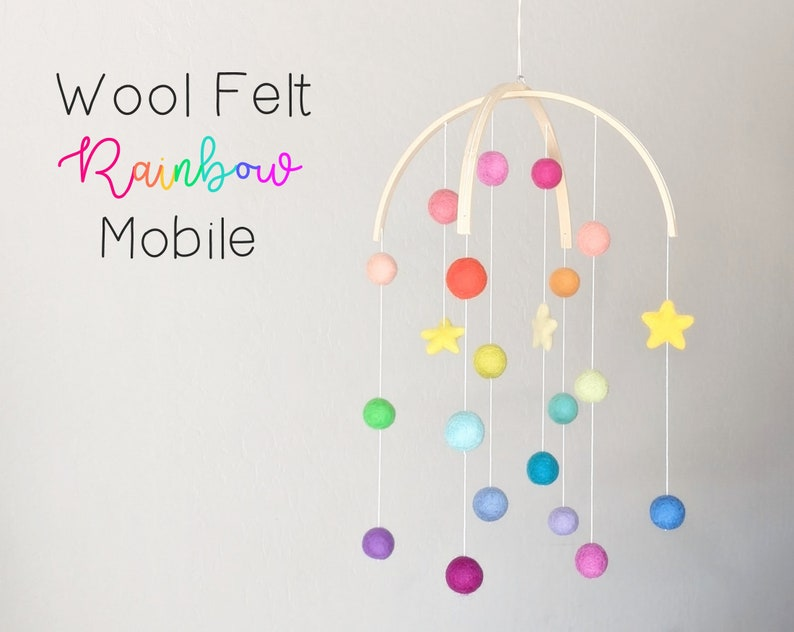 Baby Mobile : Rainbow Baby Mobile  felt poms and stars image 0