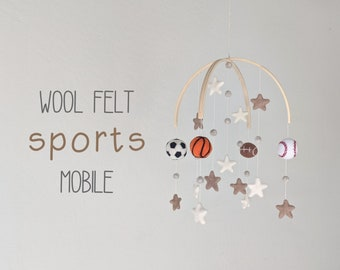 Deluxe Sports Baby Mobile : Wool Felt Sports Mobile