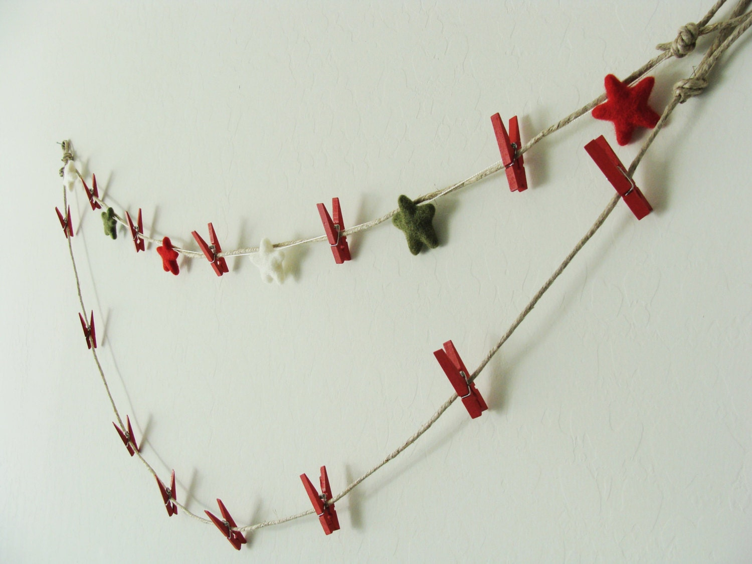 Christmas Card Holder , Card Holder , Christmas garland felted stars ...