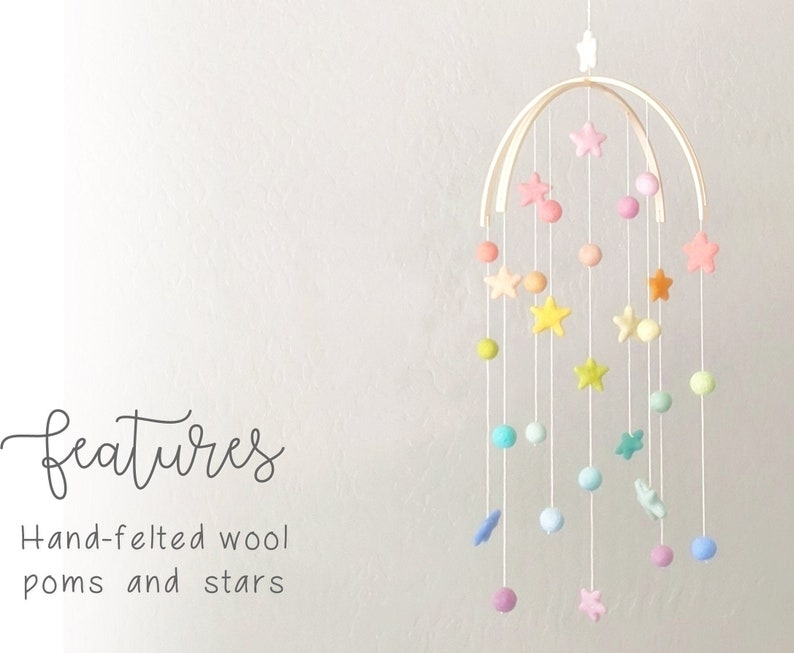 Baby Mobile : Pastel Rainbow Baby Mobile  felt poms and stars image 0