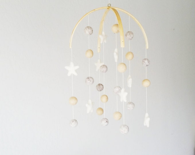 Baby Mobile : Night Sky baby mobile in whimsical gender neutral tones and stars
