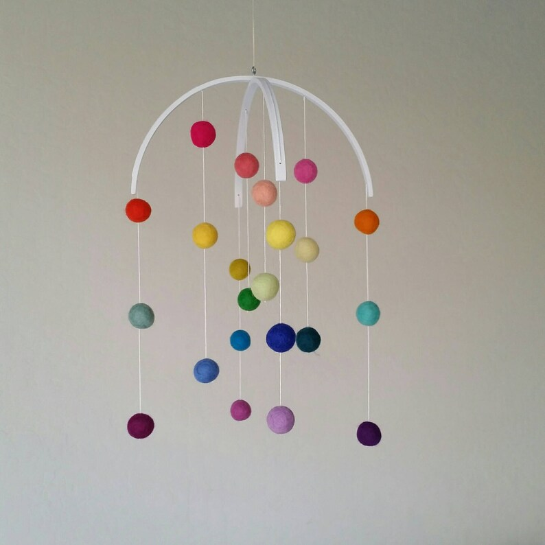 Baby Mobile : Rainbow Baby Mobile  felt poms only image 0